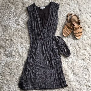 LOFT gray & dark brown wrap dress